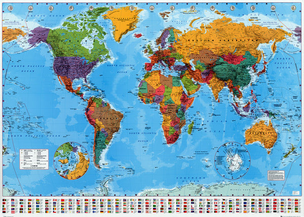 Political World Map with Flags Education Poster 24x36