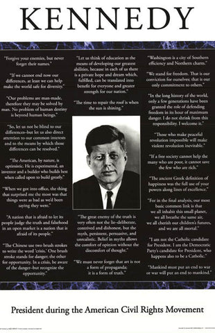 John F Kennedy JFK Quotes Poster