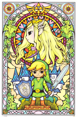 Legend of Zelda Stained Glass Poster 24x36