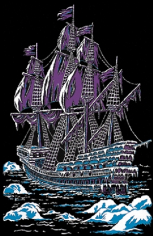 Ice Ship Pirate Boat 23x35 Felt Blacklight Poster
