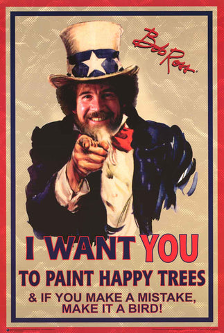 Bob Ross Uncle Sam Poster