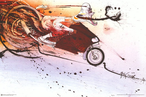 Ralph Steadman Hunter Thompson Ducati Poster