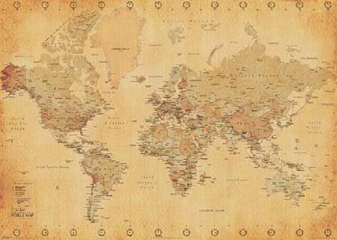 World Map Modern Borders Vintage Color XL 39x55 Poster