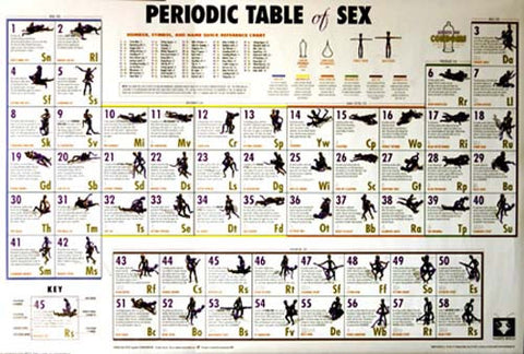 Periodic Table of Sex Positions College 24x36 Poster