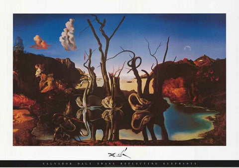 Salvador Dali Swans Reflecting Elephants Poster