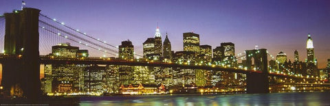 New York City Brooklyn Bridge Lights Dusk 12x36 Poster