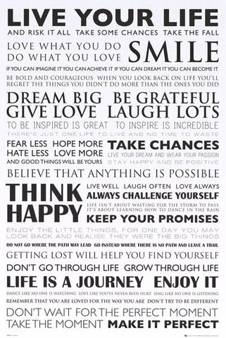 Live Your Life Words of Inspiration 24x36 Poster