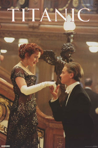 Titanic Rose and Jack Stair Kiss Orig 1998 23x35 Poster