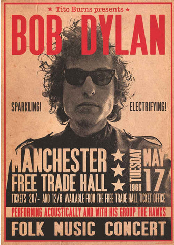 Bob Dylan Manchester Free Trade Hall Concert Poster
