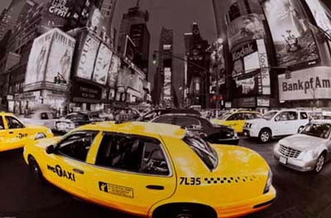 Times Square Rush Hour Taxi New York 24x36 Poster