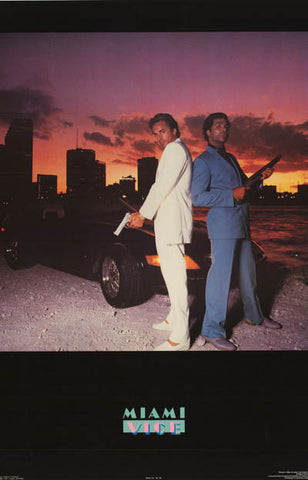 Miami Vice Crockett and Tubbs Original 1984 TV Show Poster 21x32