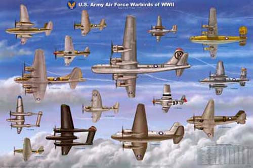 WWII Fighter Planes Poster 24x36