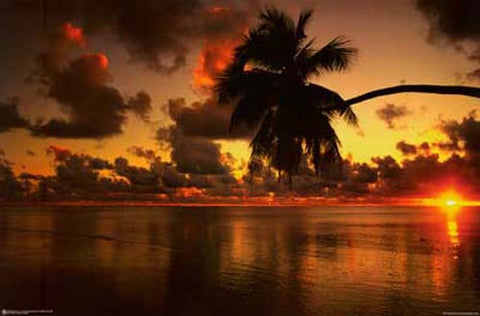 Aitutaki Lagoon Beach Sunset Poster