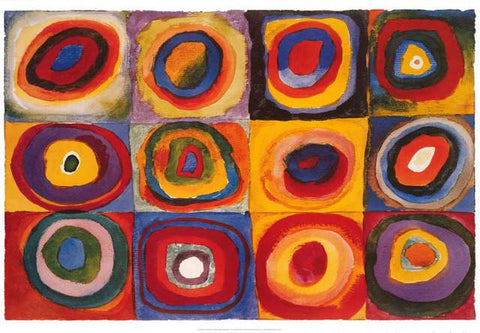 Kandinsky Squares with Concentric Circles Poster