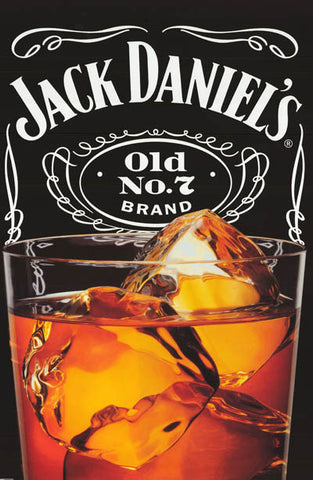 Jack Daniels Whiskey on the Rocks Alcohol Advertisement Art Poster 24x36