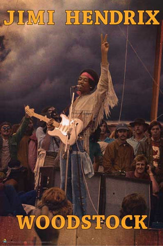 Jimi Hendrix Peace at Woodstock 24x36 Poster