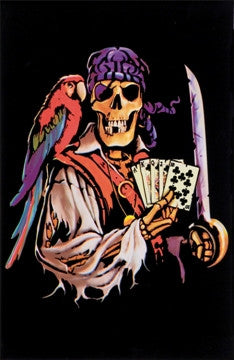 Dead Man's Hand Pirate Skeleton Blacklight Poster 23x35