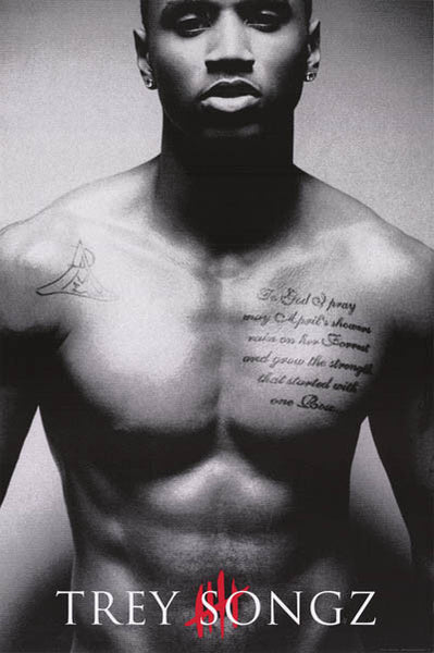 What Is Trey Songz Tattoo On His Chest: Trey Songz Tattoo Portrait Poster 24x36