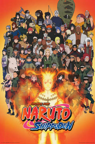 Naruto Shippuden Anime Cast Cartoon Poster 24x36