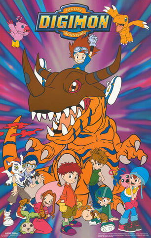 Digimon Anime Cast Tai and Friends 1999 22x34 Poster