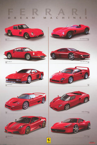Ferrari Dream Machines Italian Supercars Poster