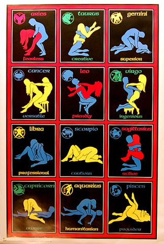 ZODIAC LOVERS ASTROLOGY SEXUAL POSITIONS 24x36 POSTER