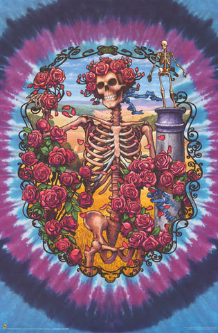 Grateful Dead Skeleton and Roses Poster