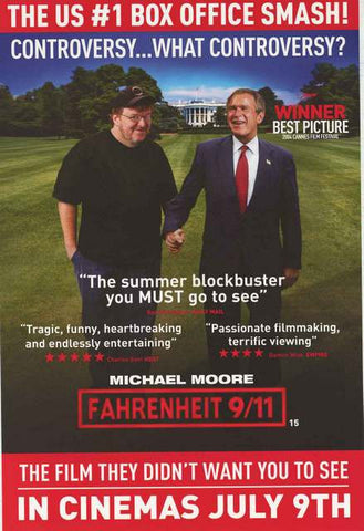 Fahrenheit 9/11 Michael Moore and Bush Movie Poster 20x30