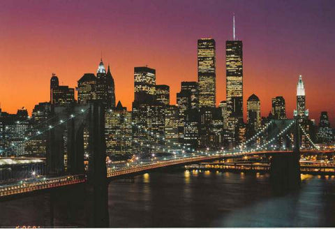 Manhattan at Dusk Brooklyn Bridge Poster