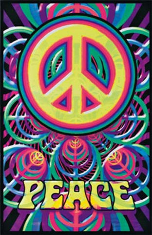 Peace Sign Felt Blacklight 23x35 Poster