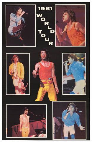 ROLLING STONES 1981 TOUR PICS orig 80's 23x34 POSTER