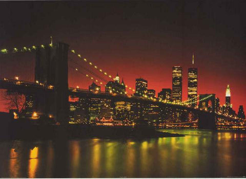 Brooklyn Bridge Manhattan Skyline Poster
