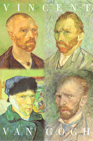 "Poster: Vincent Van Gogh - Self-Portraits 24""x36"""