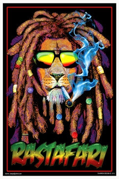 Rastafari Rasta Lion Black Light Poster