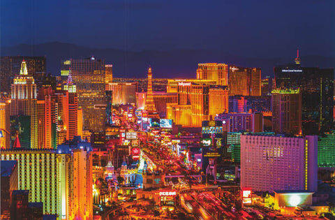 Las Vegas City of Lights Strip at Night Skyline View Poster 24x36