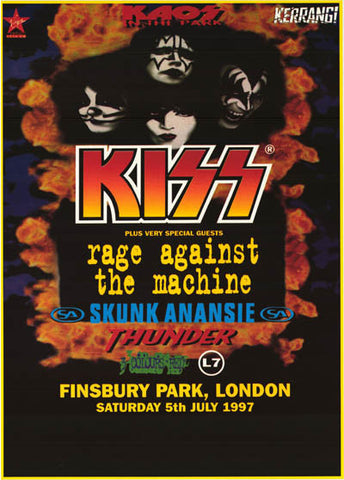 KISS Live at Finsbury Park London 1997 with Special Guest Concert Poster 24x33