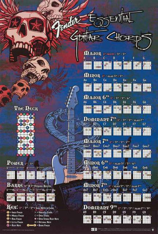 Fender Guitar Essential Chords Instructional Music Poster 24x36