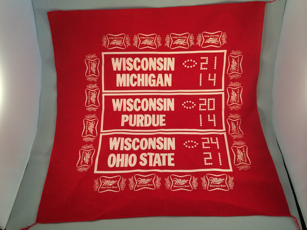 Vintage Miller High Life Wisconsin Badgers Bandana