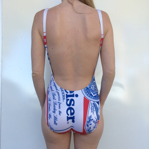 Vintage Budweiser One Piece Swimsuit 8 10 Bar Closet