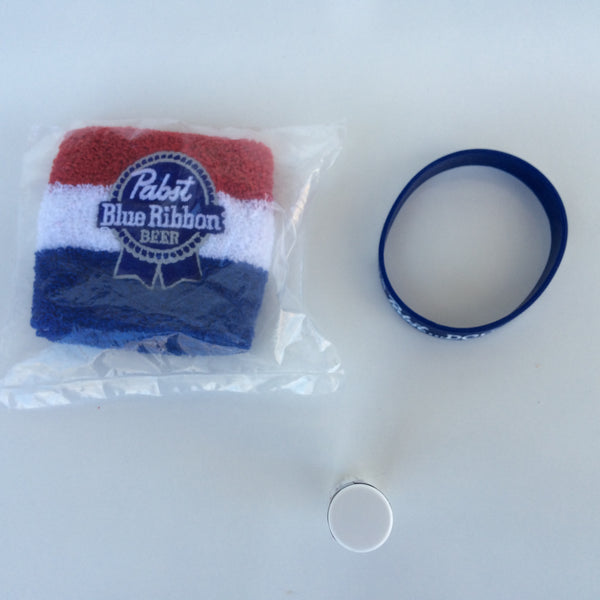 Pabst Blue Ribbon Wristband, Armband and Chapstick