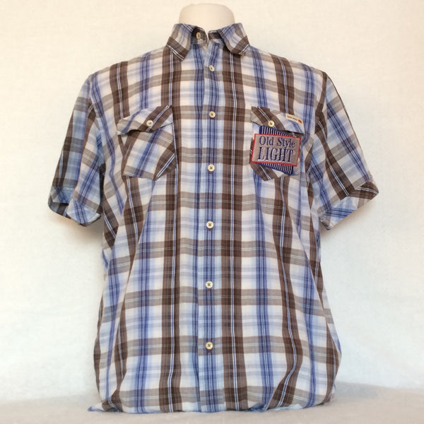 New Short Sleeve Shirt with Vintage Old Style Beer Patches