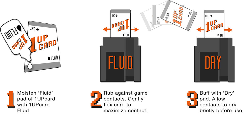 1UPcard Retro Video Game Cartridge Cleaning kit cleaner infographic