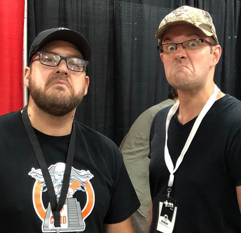 Adam (1UPcard creator) and James Rolfe