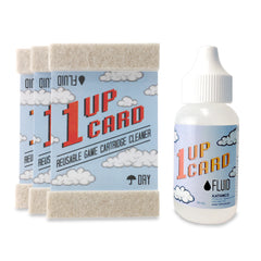1UPcard™ Video Game Cartridge Cleaning Kit - 3 Pack with Fluid