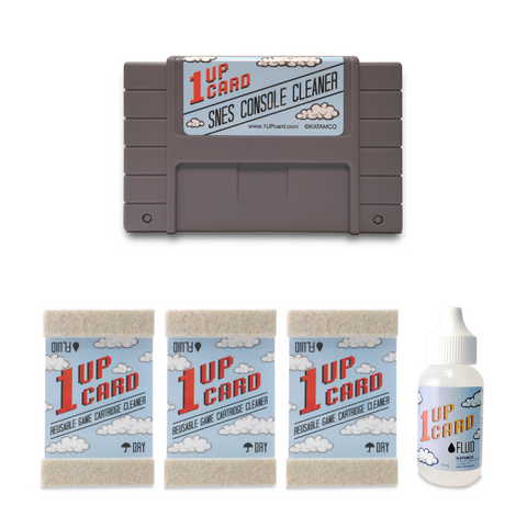 SNES Cleaning Kit by 1UPcard - Console and Game Cartridge Cleaner Bundle (save $10.00)