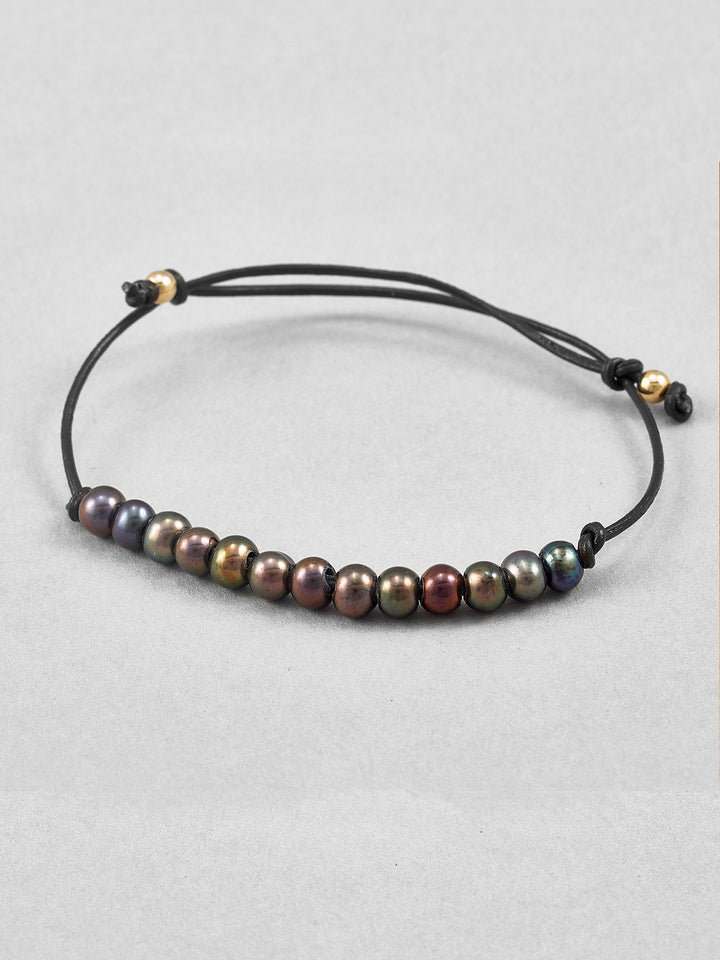 Black Freshwater Pearl Leather Bracelet