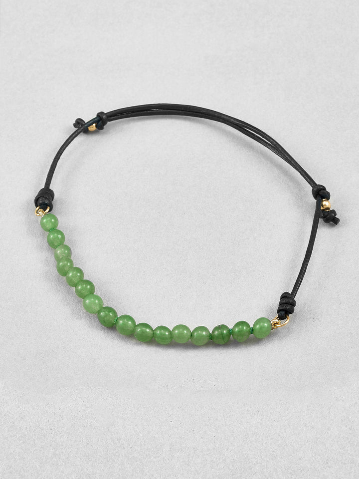 Green Agate Leather Bracelet