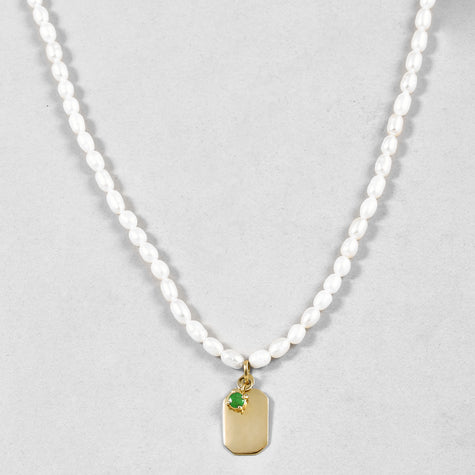 ID Tag Pearl Necklace