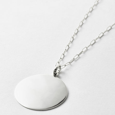 Sterling Silver XL Disk Necklace
