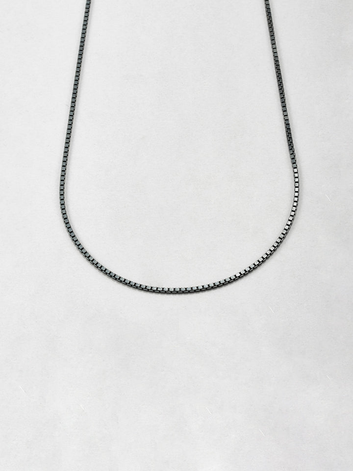 Oxidized Box Chain Necklace